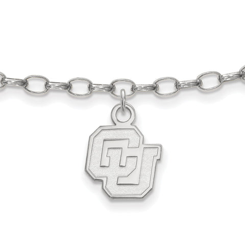 Sterling Silver Rh-plated LogoArt University of Colorado Anklet