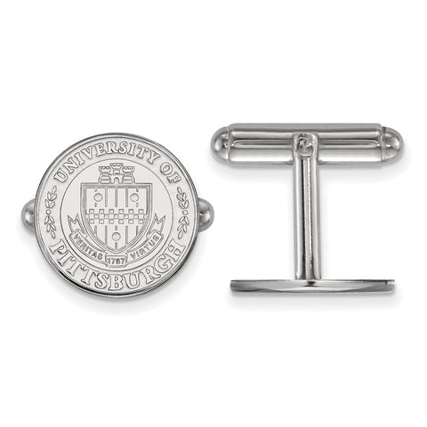 Sterling S. Rh-plated LogoArt University of Pittsburgh Crest Cuff Link