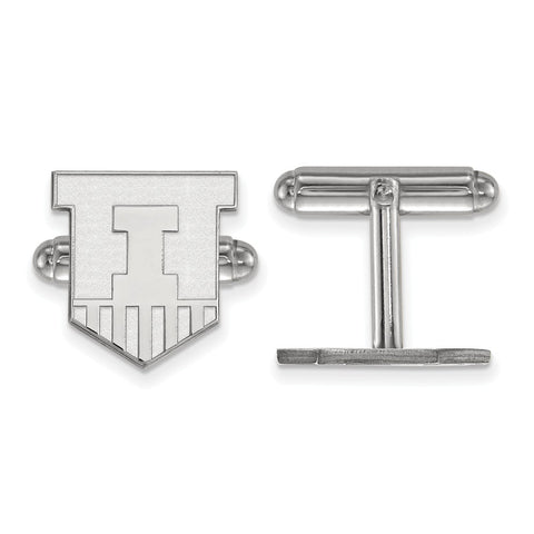 Sterling Silver Rh-plated LogoArt University of Illinois Cuff Link