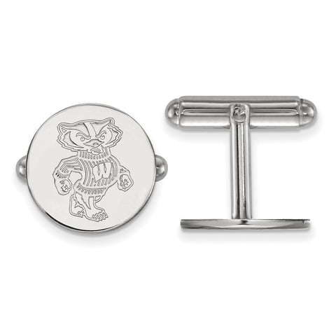 Sterling Silver Rh-plated LogoArt University of Wisconsin Cuff Link
