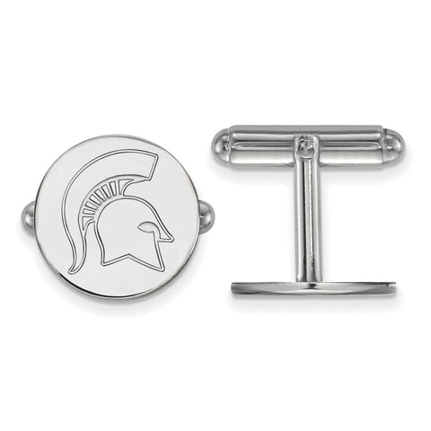 Sterling Silver Rh-plated LogoArt Michigan State University Cuff Link