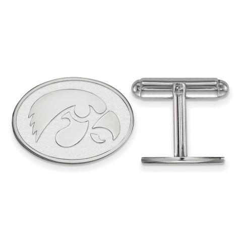 Sterling Silver Rh-plated LogoArt University of Iowa Cuff Link