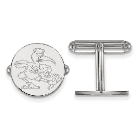Sterling Silver Rh-plated LogoArt University of Miami Cuff Link