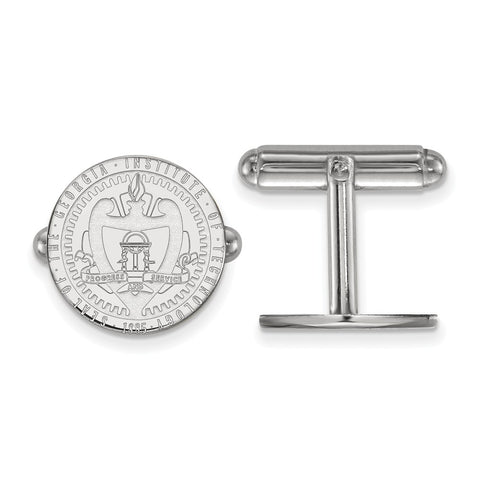 Sterling S. Rh-p LogoArt Georgia Institute of Technology Crest Cuff Link
