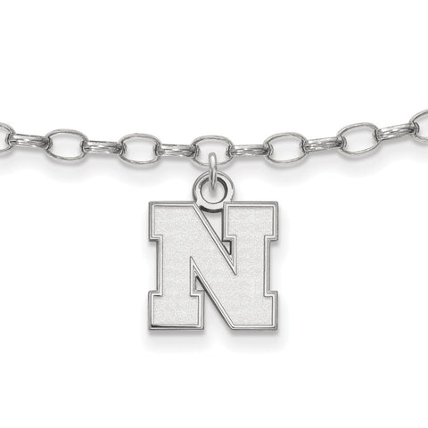 Sterling Silver Rh-plated LogoArt University of Nebraska XS Anklet