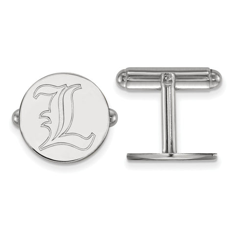 Sterling Silver Rh-plated LogoArt University of Louisville Cuff Link