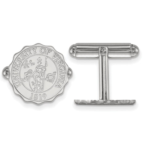Sterling Silver Rh-plated LogoArt University of Virginia Crest Cuff Link