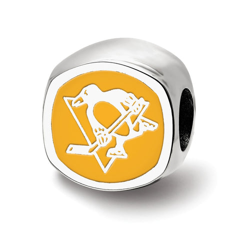 Sterling Silver NHL LogoArt Pittsburgh Penguins Cushion Shaped Logo Bead