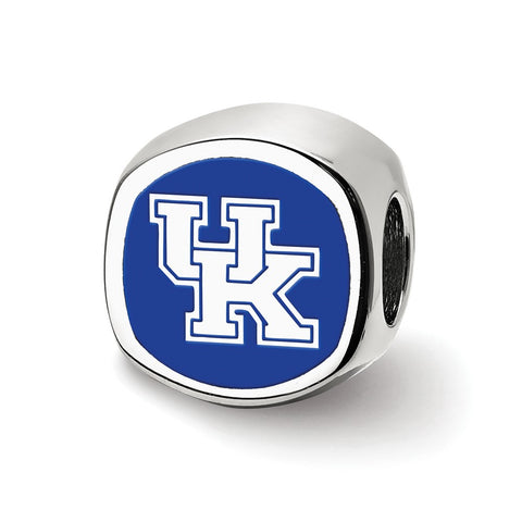 Sterling Silver LogoArt The U of Kentucky UK Cushion Shaped Logo Bead