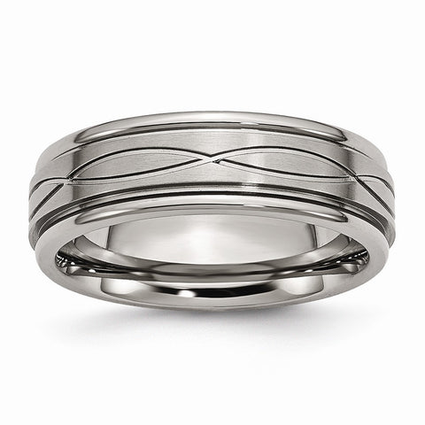 Titanium Polished Criss-cross Design Brushed Center Ridged Edge Band