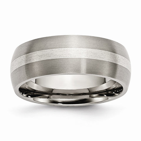 Titanium Sterling Silver Inlay 8mm Brushed Band