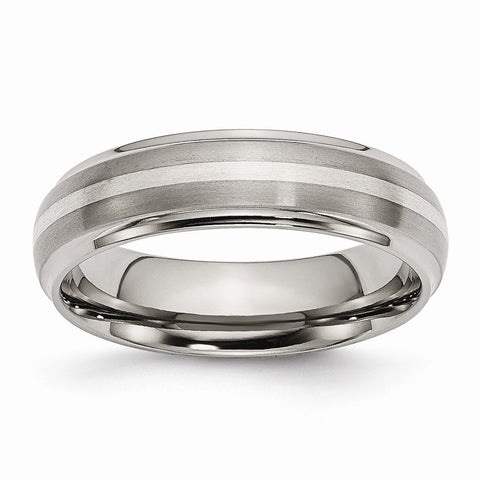 Titanium Ridged Edge Sterling Silver Inlay 6mm Brushed/Polished Band