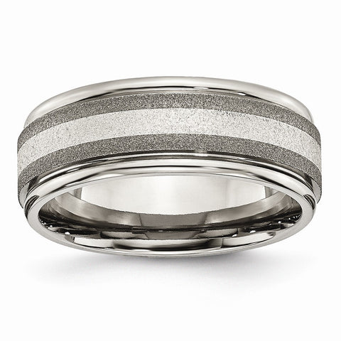Titanium Polished /Stone Finish Center Grooved Edge Sterling Inlay Band