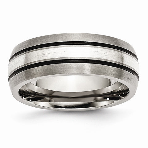 Titanium Grooved Sterling Silver Inlay 8mm Brushed/Antiqued Band