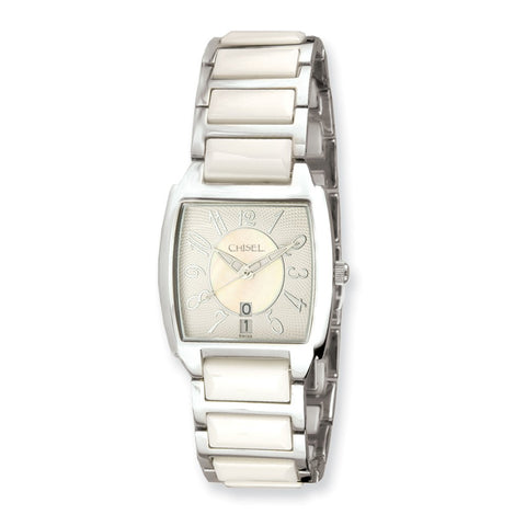 Ladies Chisel White Ceramic Square Dial Watch