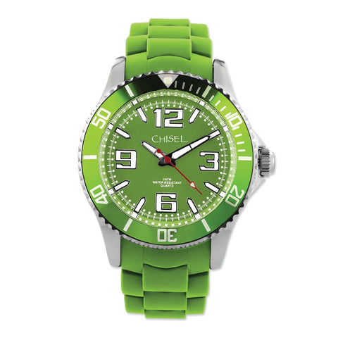 Mens Chisel 44mm Green Silicone Strap Watch