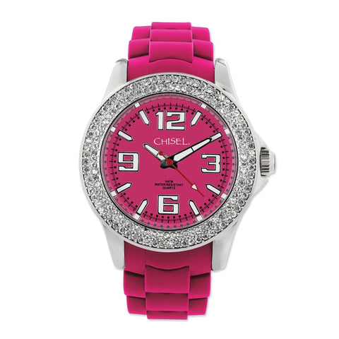 Ladies Chisel 40mm Crystal Bezel Dk Pink Silicone Strap Watch