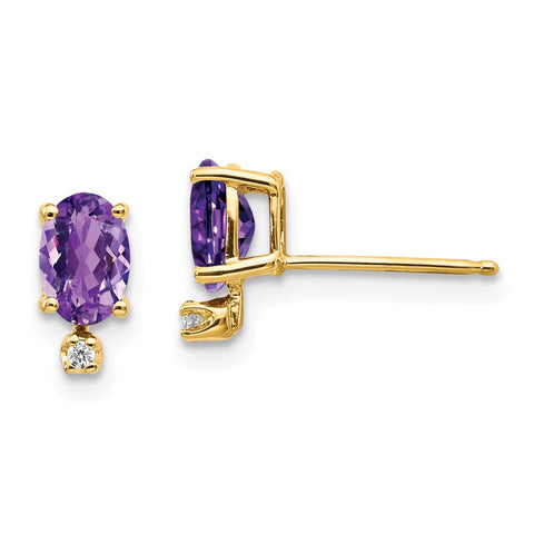 14k Diamond & Amethyst Birthstone Earrings