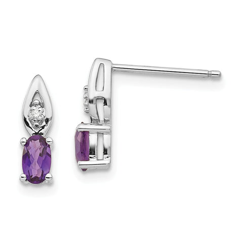 14k White Gold Amethyst Diamond Earring