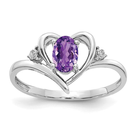 14k White Gold Amethyst Diamond Ring