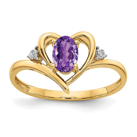 14K Diamond & Amethyst Ring