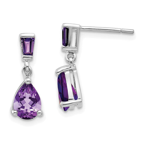 14k White Gold Amethyst Dangle Post Earrings