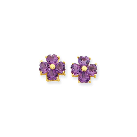 14k Heart-shaped Amethyst Flower Post Earrings