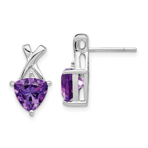 14k White Gold Amethyst and White Topaz Trillion Post Earrings