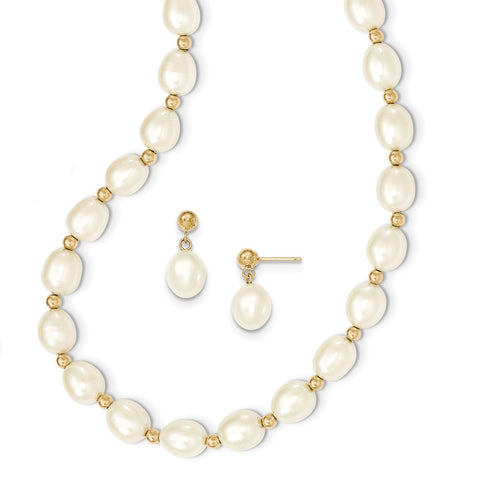 14k 7-8mm White FW Cultured Pearl Necklace and Bead Post Earring Set