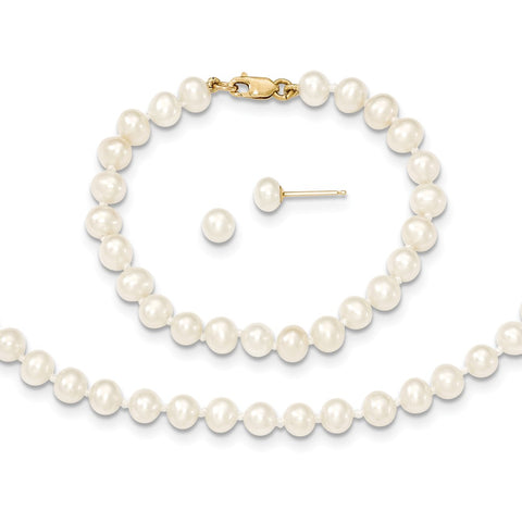 14k 4-5mm FW Cultured Pearl, 14in Necklace, 5 Bracelet & Earring Set