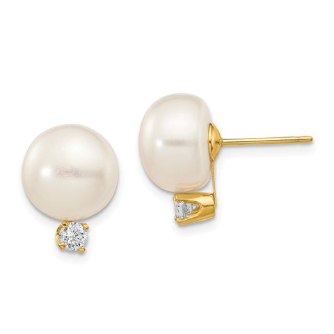 14k 10-11mm White Button FW Cultured Pearl .2ct Diamond Post Earrings