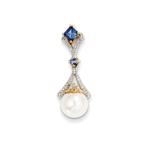 14k Diamond 8-9mm Round FW Cultured Pearl Created Sapphire Pendant