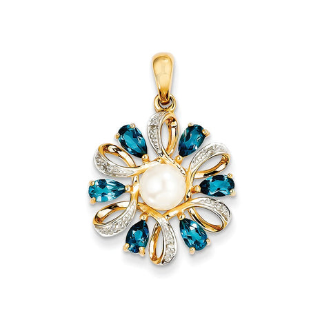 14k Diamond and 6-7mm Button FW Cultured Pearl/London Blue Topaz Pendant