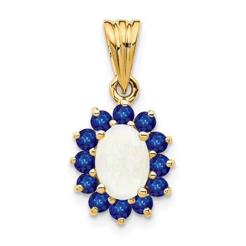 14k Genuine Opal and Sapphire Pendant