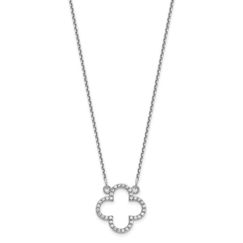 14k White Gold Small Necklace Diamond Quatrefoil Design