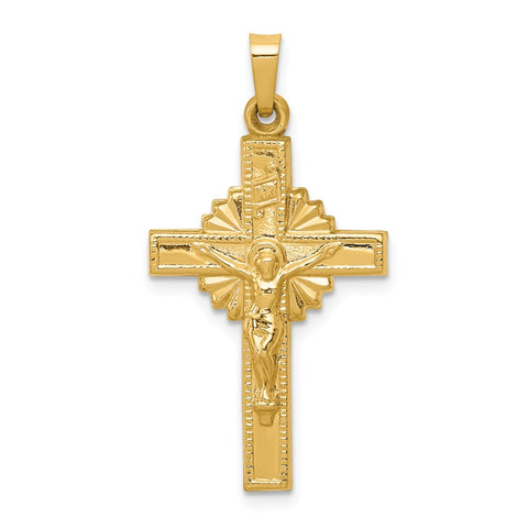 14k INRI Hollow Crucifix Pendant