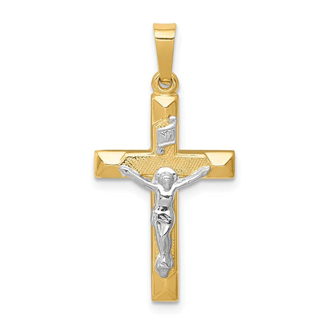 14k Two-tone INRI Hollow Crucifix Pendant