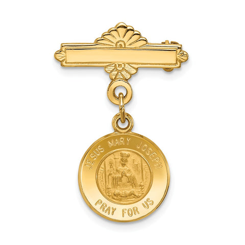 14k Holy Family Medal Pin