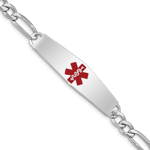 Sterling Silver Rhodium-plated Medical ID Figaro Link Bracelet