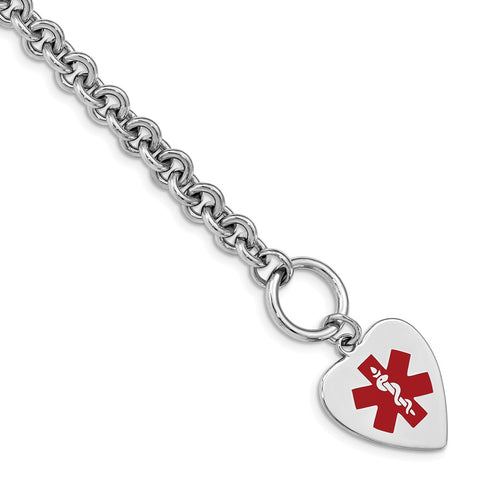 Sterling Silver Rhodium Engraveable Enameled Heart Medical ID Bracelet