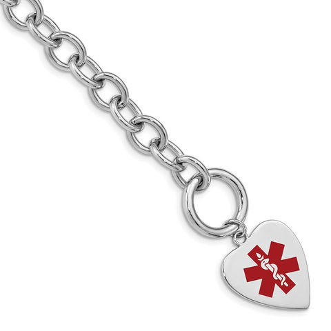Sterling Silver Rhodium Engraveable Enamel Heart Medical ID Bracelet