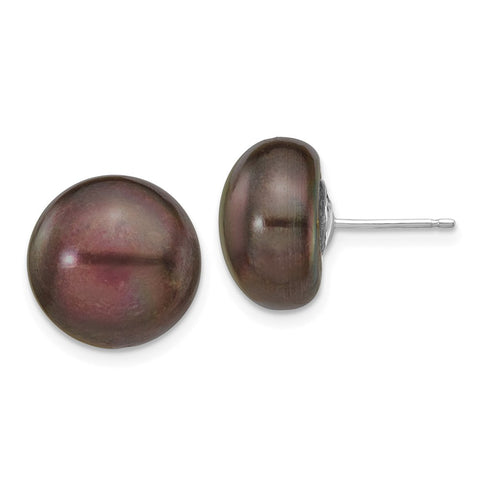 14k White Gold 12-13mm Black Button FW Cultured Pearl Stud Post Earrings