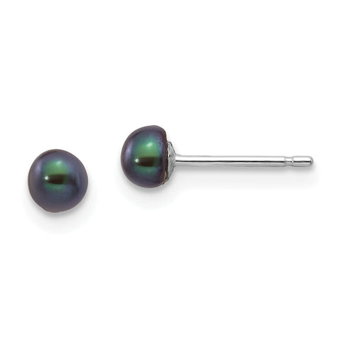 14k White Gold 3-4mm Black Button FW Cultured Pearl Stud Post Earrings