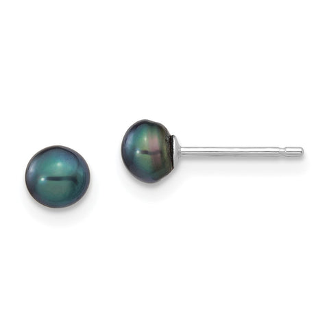 14k White Gold 4-5mm Black Button FW Cultured Pearl Stud Post Earrings