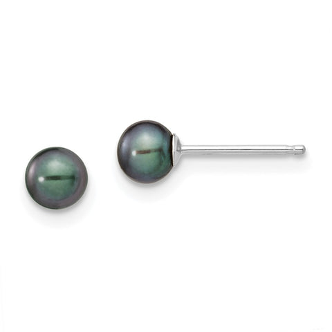 14k White Gold 4-5mm Black Round FW Cultured Pearl Stud Post Earrings