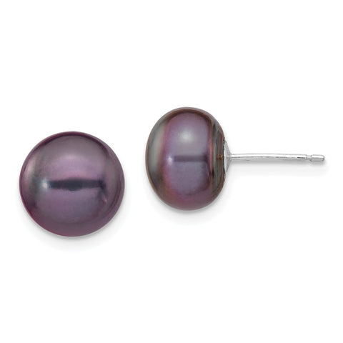 14k White Gold 9-10mm Black Button FW Cultured Pearl Stud Post Earrings