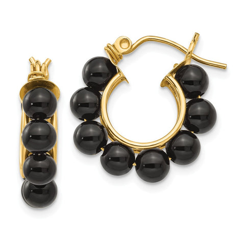 14k Onyx Beaded Hoop Earrings