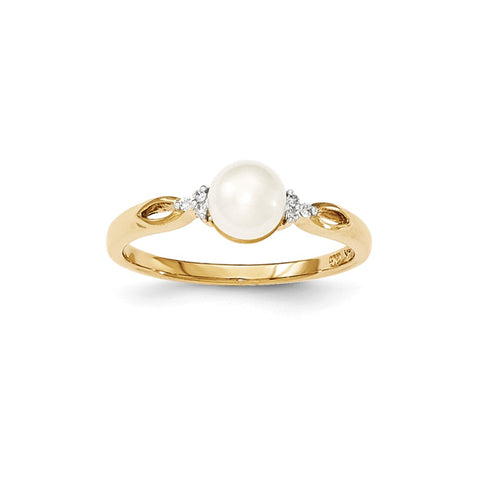 14k FW Cultured Pearl and Diamond Ring