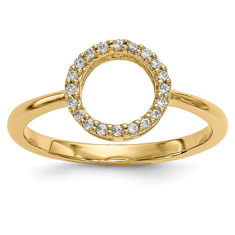 14k Diamond Open Circle Ring