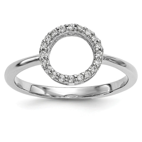 14k White Gold Diamond Open Circle Ring